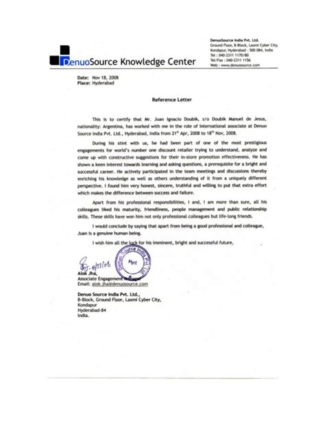 Letter Of Recommendation From Research Supervisor Reference Letter Project Manager Denuosource Ltd