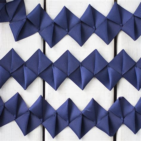 Origami With Ribbon - zigzag origami ribbon trim in navy sew crafty