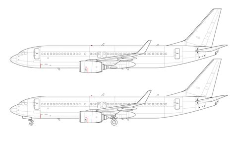 737 Coloring Page by Boeing 737 800 Blank Illustration Templates Norebbo