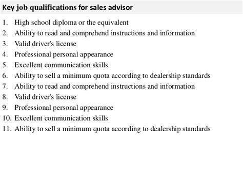 sales advisor description