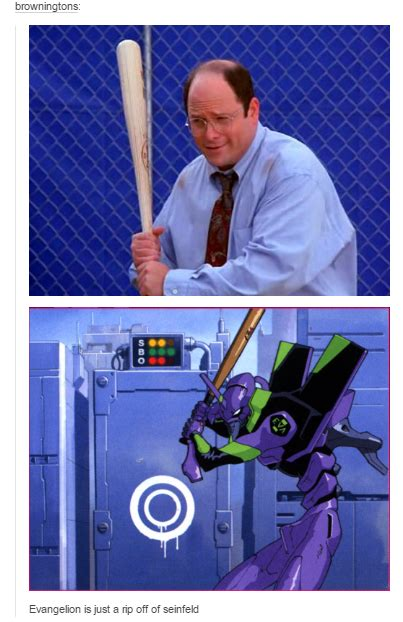 Squidward Baseball Bat Meme - evangelion is just a rip off of seinfeld costanza jpg
