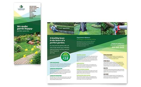 brochure layout landscape landscaper brochure template design