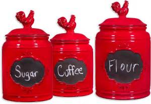 Red Kitchen Canisters Set by Rooster Red Set Of 3 Ceramic Kitchen Canisters