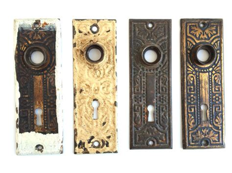 door knob plates set of 4 antique key covers metal