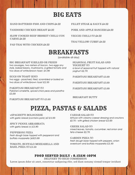 Restaurant Menu Templates Word design templates menu templates wedding menu food