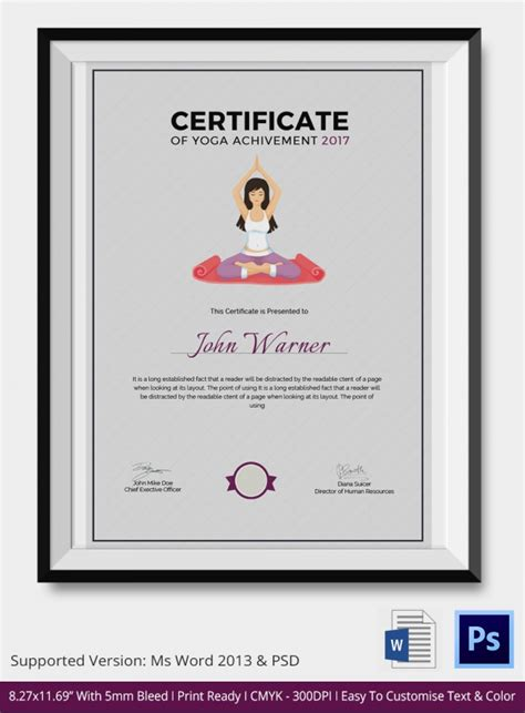 yoga certificate template 9 free word pdf psd format