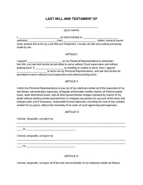 will document template printable sle last will and testament template form