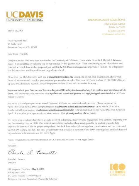 Recommendation Letter For Uc Application Joyce S Personal Portfolio Letters