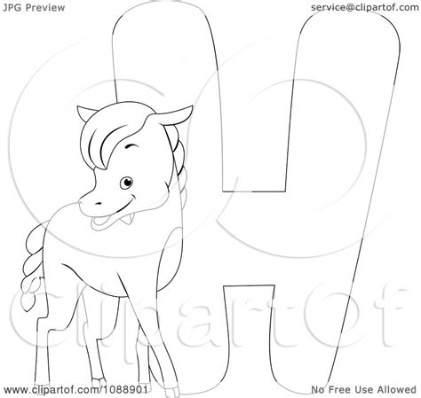 letter h horse coloring page