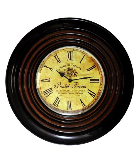 buy lal haveli wooden wall clock living room online at low lal haveli circular analog wall clock wooden wall watch