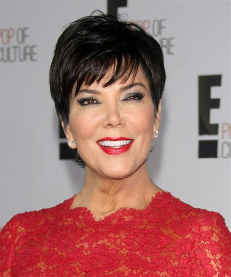 Kris Jenner Short Straight Formal Hairstyle with Layered