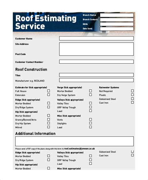 9 Sle Estimate Forms Sle Templates Roofing Template