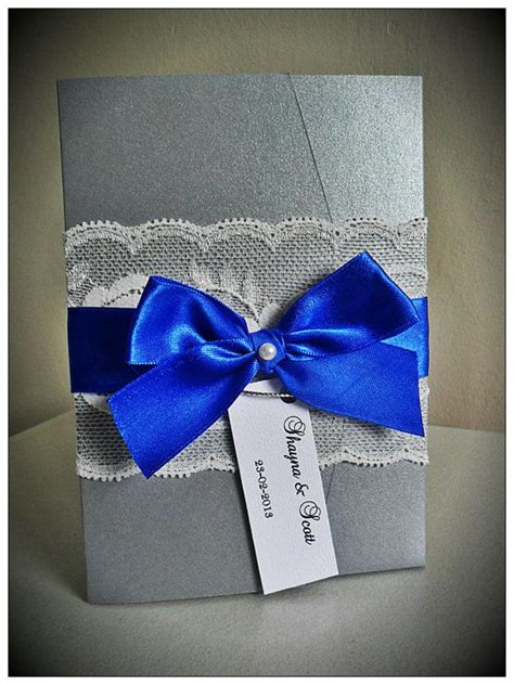 blue and silver wedding invitation ideas vintage lace pocketfold wedding invitations royal blue