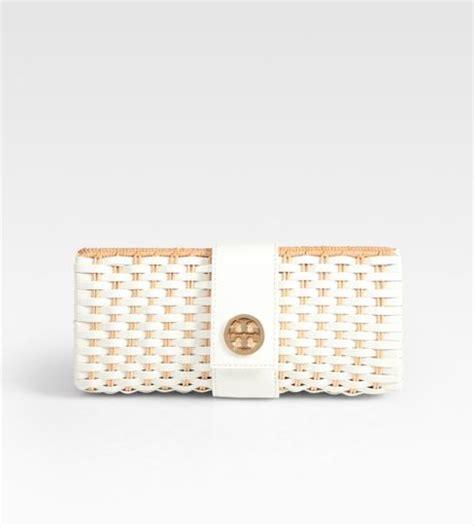 Burch Suzi Straw Clutch by Burch Woven Patent Leather Straw Turnlock Clutch In