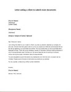 letter asking a client to submit more documents