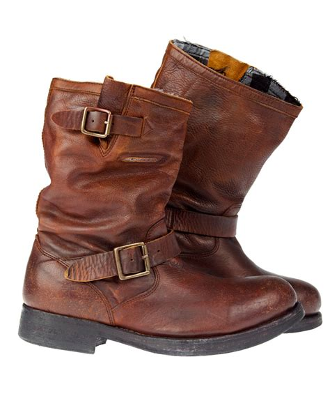 brown leather biker boots new mens superdry premium richy biker boots brown leather