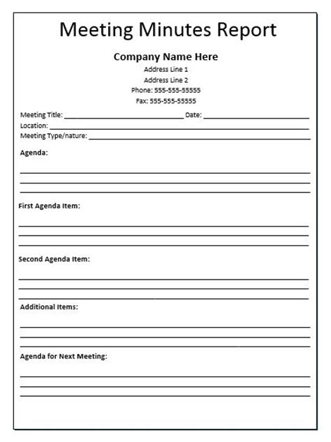 meeting report template free meeting minutes report template official templates