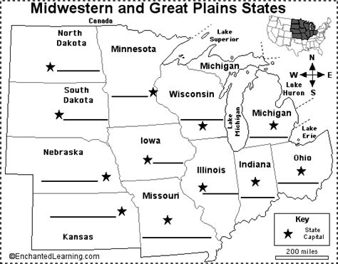 printable us map quiz states and capitals label midwestern us state capitals printout