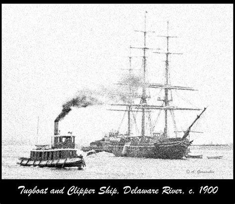 boat canvas delaware tug boat and ship in the delaware river c 1900 digital art