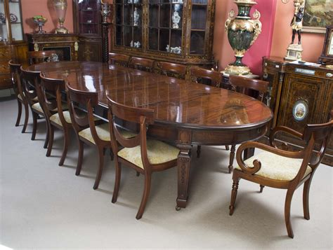 """Antique 12ft 6"""" Edwardian Dining Table 12 Chairs C1900"""