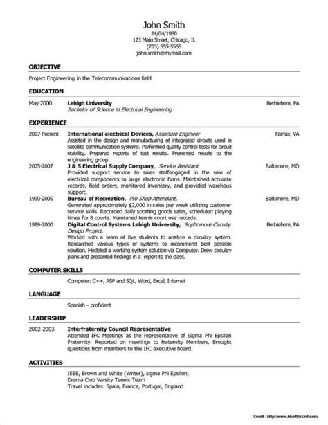sle of resume format in word sle resumes in word 28 images sle resume ms word