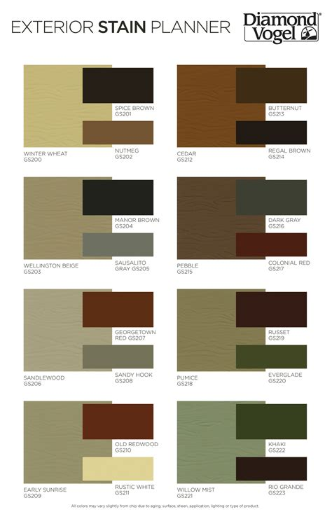 color center exterior stain planner color chart color center