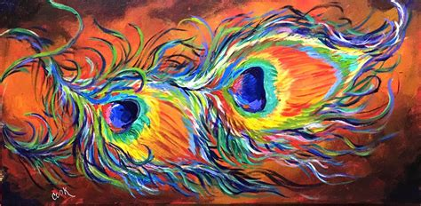 rainbow peacock feathers in a figurative abstract acrylic painting tutorial acrylic painting