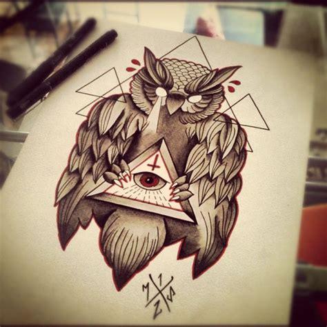 owl tattoo with all seeing eye freemasonry esoterica