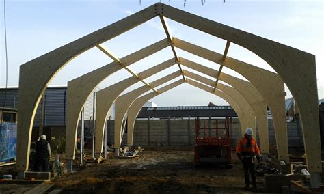 a frame building glulam portal frame structure for a church hall building