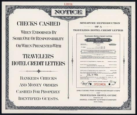 Traveler Letter Of Credit travelers hotel credit letter specimen promotional
