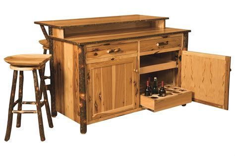 bar kitchen island amish hickory home wine bar kitchen island set w stools surrey rustic