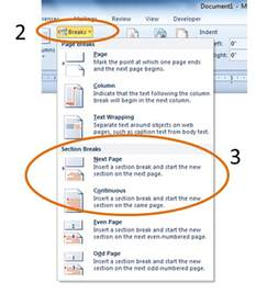 adding section breaks to a word document