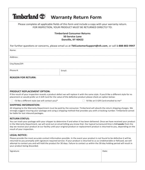warranty forms ms word excel