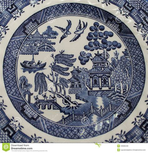 willow pattern close up old blue willow china pattern plate stock photo image