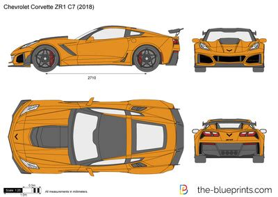 chevrolet corvette zr1 c7 vector drawing
