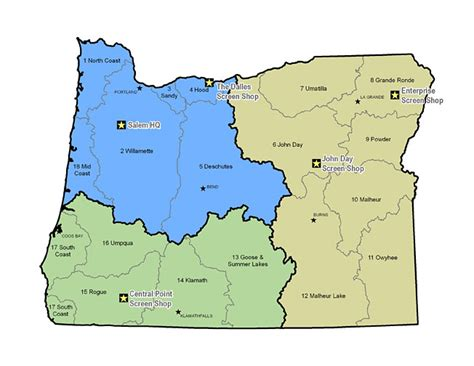 map of s w oregon odfw fish screening shops