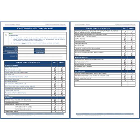 scaffold inspection checklist free template scaffold inspection checklist free template image