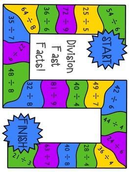 printable math division board games multiplication and division board games