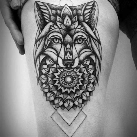 tattoo mandala animal mandala flowers wolf tattoo on side thigh