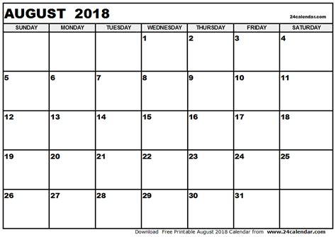 August 2018 Printable Calendar Blank Calendar Templates Free Printable Monthly Calendar Templates 2018