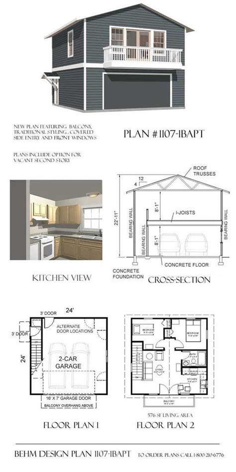 Garage Apartment Plans With Balcony garage with apartment balcony plan 1107 1bapt 24 x 24