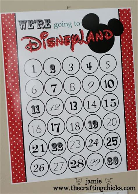 countdown calendar printable template disneyland countdown free template