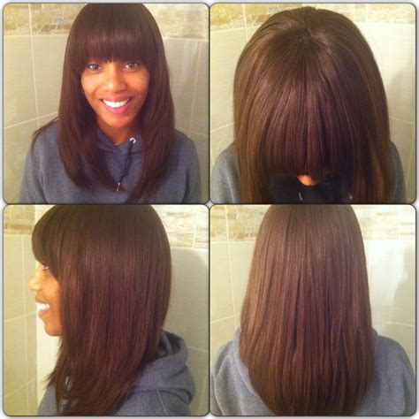 bob sew in weave hairstyles switch it up full weave with bangs feat ebony love