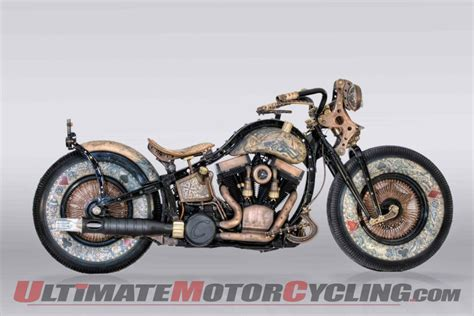 motorcycle over recidivist tattooed custom motorcycle debuts in london