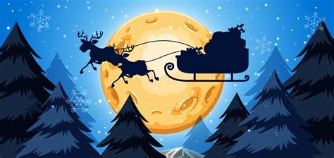 silhoutte  sleigh night scene   vectors clipart graphics vector art