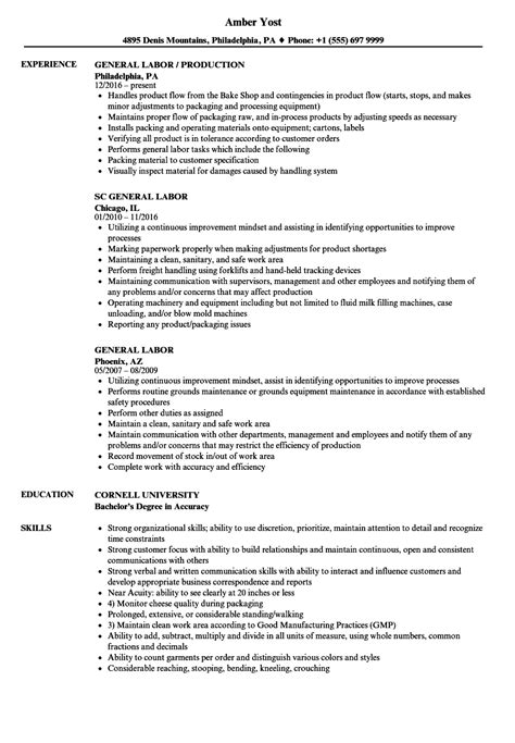 General Laborer Resume by General Labor Resume Sles Velvet