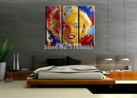 Bedroom Modern Painting 3 Panel Canvas Wall Abstract Modern Colorful Marilyn