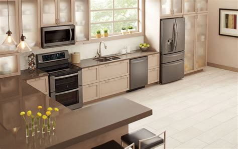 black kitchen cabinets with stainless steel appliances lg debuts black stainless steel kitchen appliances baby