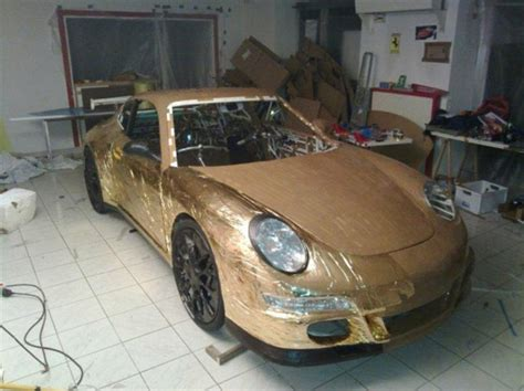 how to make a car out of index cards porsche gt3 cardboard hits 10mph and only weighs 219