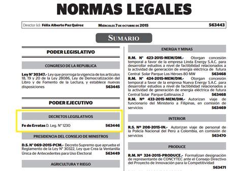 decreto legislativo n 1229 diario oficial el peruano portal web quot ultimo informe quot fe de erratas decreto